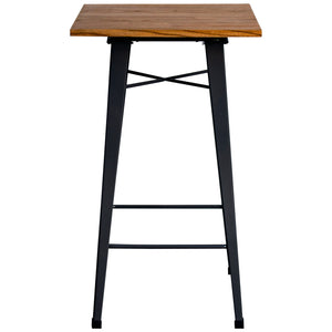 5PC Lodi Table & Favara Bar Stool Set - Graphite Grey