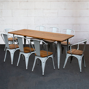 9PC Taranto Table, 2 Florence & 6 Palermo Chairs Set - White