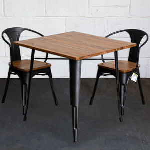 3PC Enna Table & Florence Chair Set - Onyx Matt Black