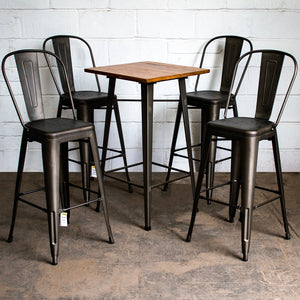5PC Lodi Table & Pascale Bar Stool Set - Gun Metal Grey