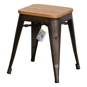 3PC Enna Table & Rho Stool Set - Gun Metal Grey