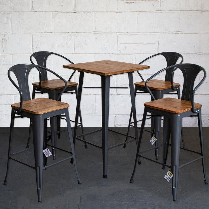 5PC Lodi Table & Licata Bar Stool Set - Graphite Grey