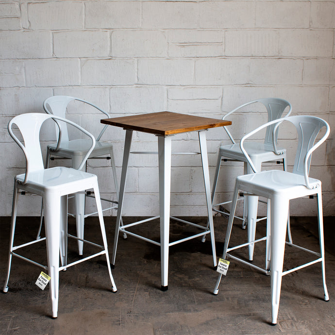 5PC Lodi Table & Favara Bar Stool Set - White