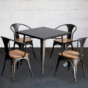 5PC Belvedere Table & Florence Chair Set - Gun Metal Grey
