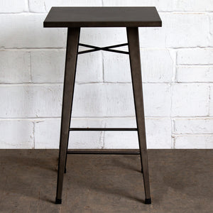 5PC Laus Table & Naples Bar Stool Set - Gun Metal Grey