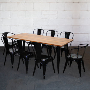 9PC Taranto Table, 2 Forli & 6 Siena Chairs Set - Black
