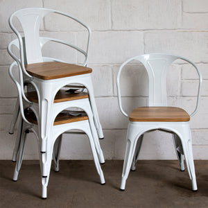 7PC Prato Table, 2 Florence Chairs & 4 Rho Stools Set - White