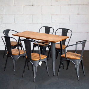 7PC Prato Table, 2 Florence & 4 Palermo Chairs Set - Graphite Grey