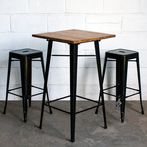 3PC Lodi Table & Orvieto Bar Stool Set - Black