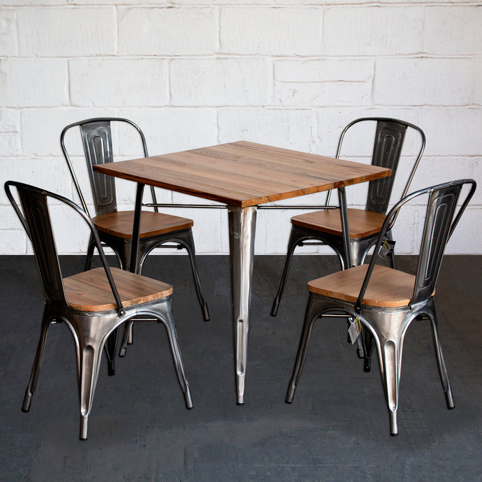 5PC Enna Table & Palermo Chair Set - Steel
