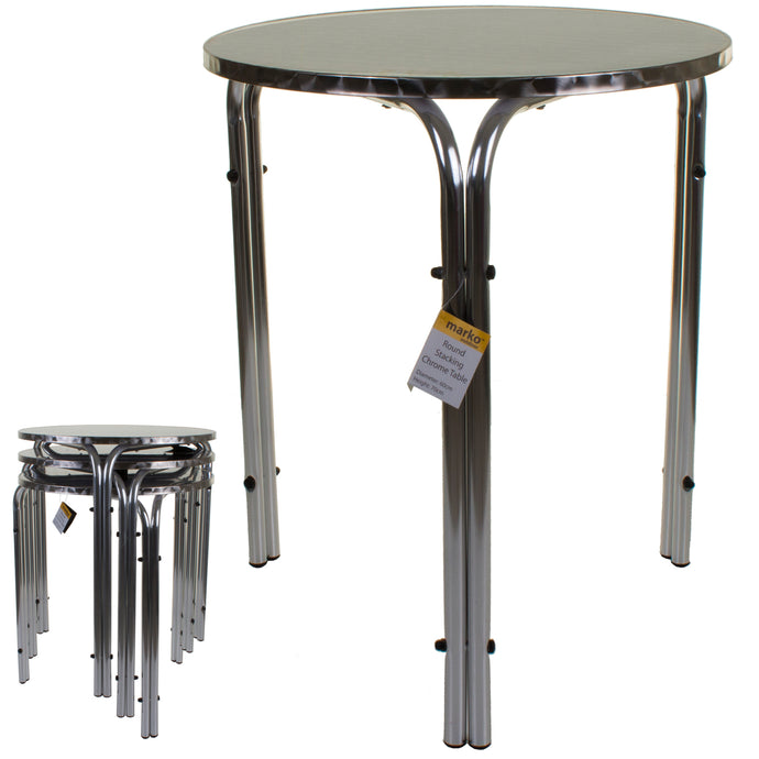 Havana 70cm Round Stacking Chrome Bistro Table