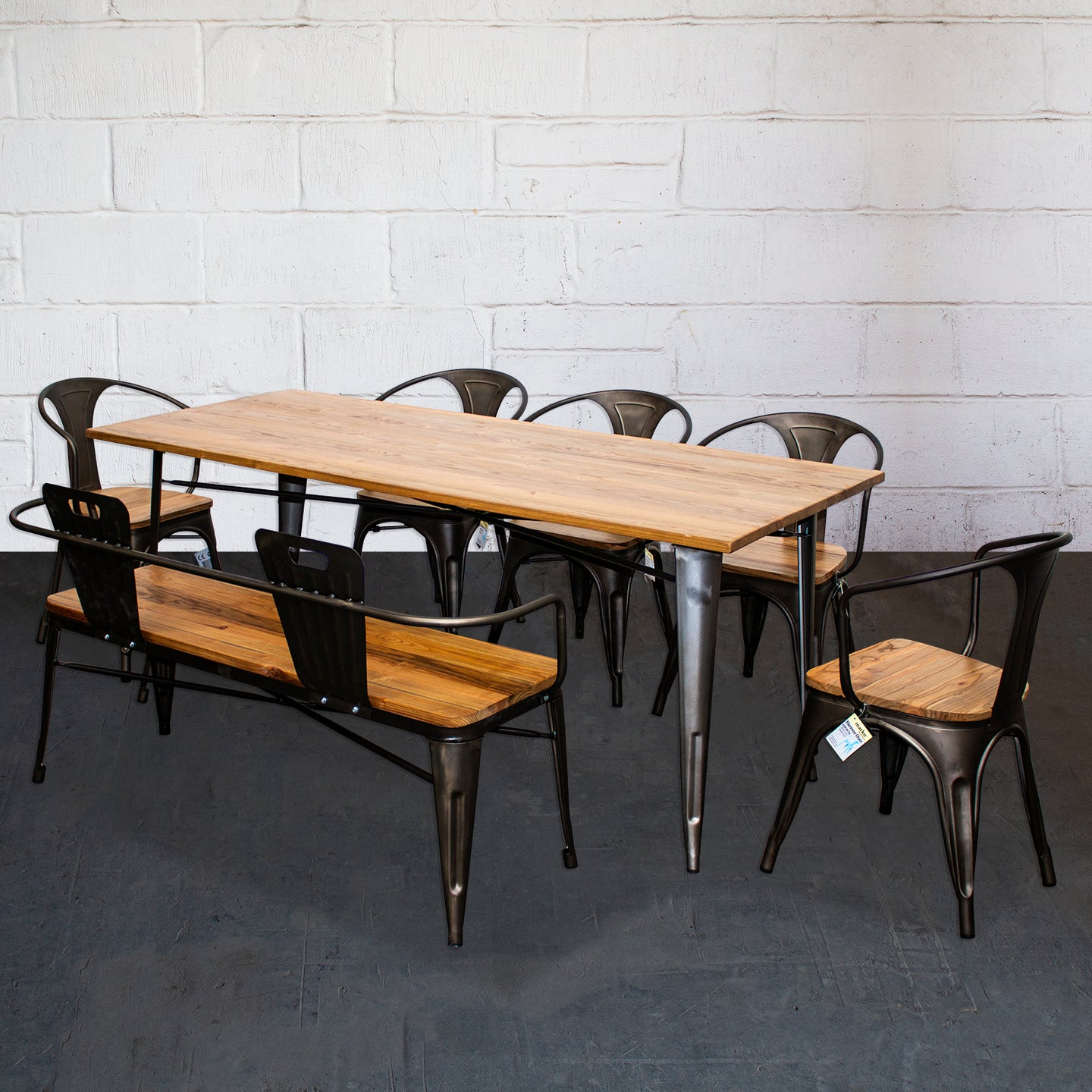 7PC Taranto Table, 5 Florence Chairs & Nuoro Bench Set - Gun Metal Grey