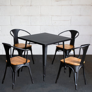 5PC Belvedere Table & Florence Chair Set - Onyx Matt Black
