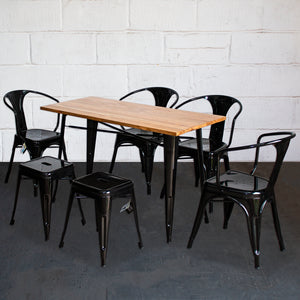 7PC Prato Table, 4 Forli Chairs & 2 Castel Stools Set - Black