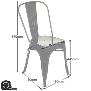 5PC Enna Table Siena Chair & Castel Stool Set - Gun Metal Grey