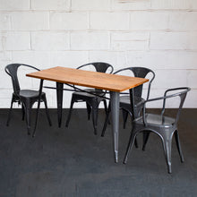 5PC Prato Table & 4 Forli Chairs Set - Graphite Grey