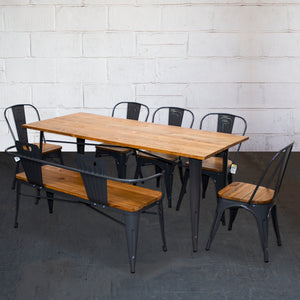 7PC Taranto Table, 5 Palermo Chairs & Nuoro Bench Set - Graphite Grey