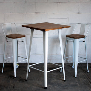 3PC Lodi Table & Tuscany Bar Stool Set - White