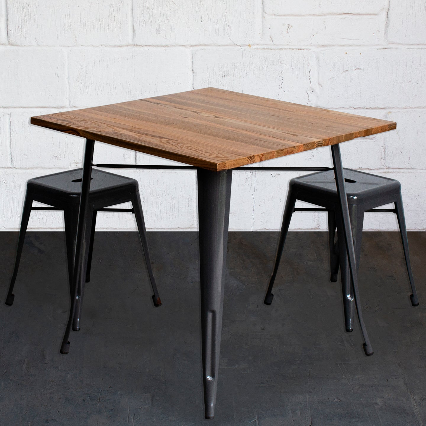 3PC Enna Table & Castel Stool Set - Graphite Grey