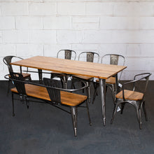 7PC Taranto Table, 2 Florence Chairs, 3 Palermo Chairs & Nuoro Bench Set - Steel