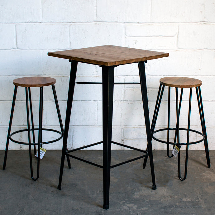 3PC Lodi Table & Marsala Bar Stool Set - Black