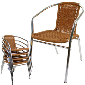 Tan Wicker Chrome Bistro Chair