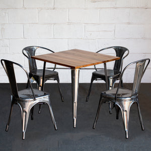 5PC Enna Table Forli & Siena Chairs Set - Steel