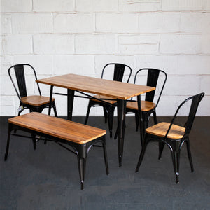 6PC Prato Table, 4 Palermo Chairs & Sicily Bench Set - Black