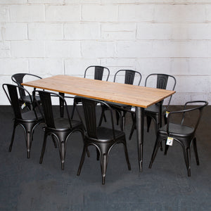 9PC Taranto Table, 2 Forli & 6 Siena Chairs Set - Onyx Matt Black