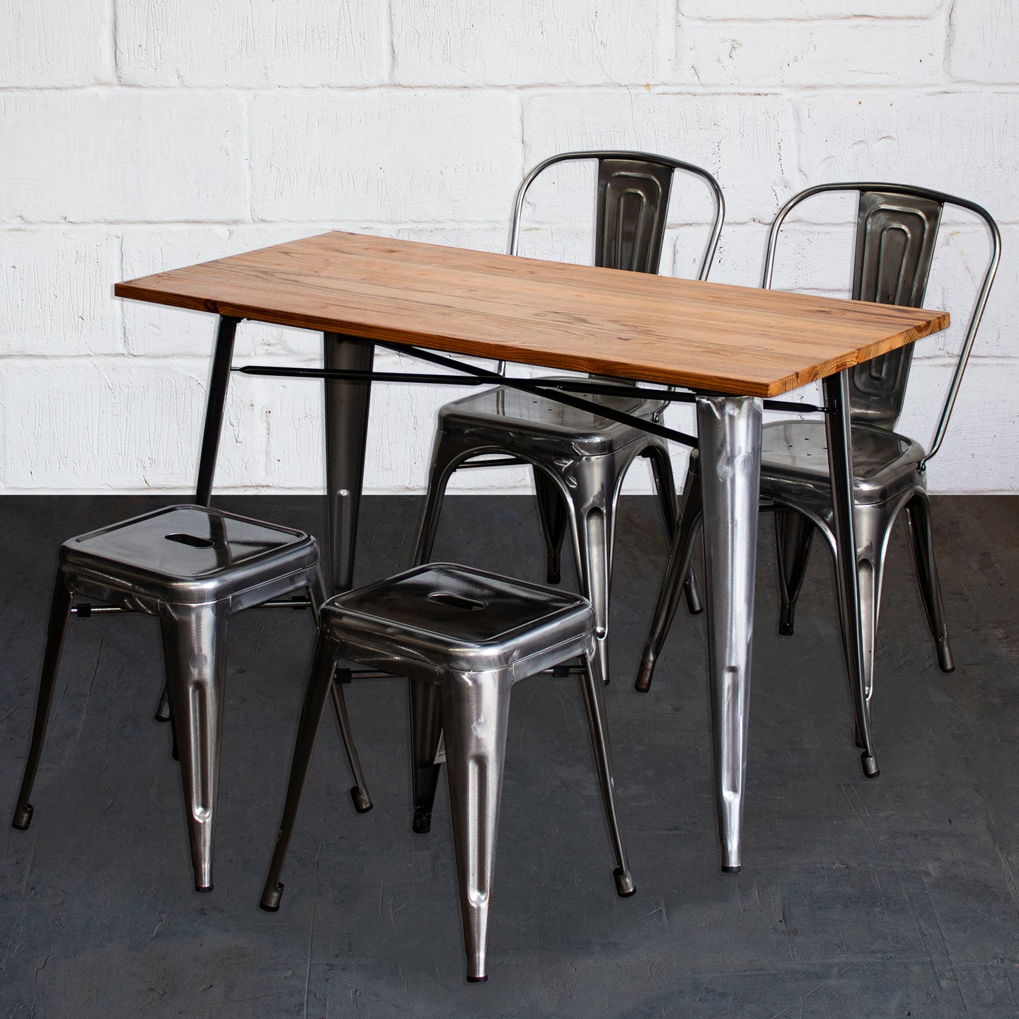5PC Prato Table, 2 Siena Chairs & 2 Castel Stools Set - Steel