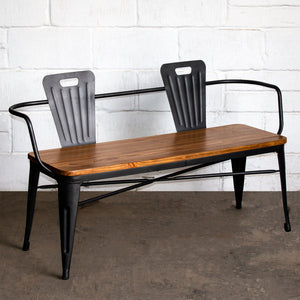 7PC Taranto Table, 5 Rho Stools & Nuoro Bench Set - Onyx Matt Black