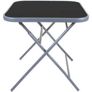 Square Folding Table Black Glass - Grey