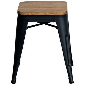 5PC Belvedere Table & Rho Stool Set - Onyx Matt Black