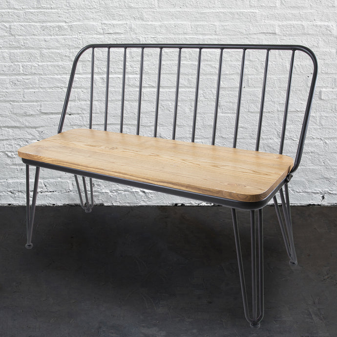 Rustic Bench With Wire Backrest