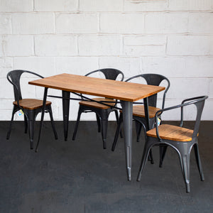 5PC Prato Table & 4 Florence Chairs Set - Graphite Grey