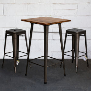 3PC Lodi Table & Orvieto Bar Stool Set - Gun Metal Grey