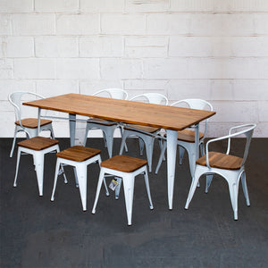 9PC Taranto Table, 5 Florence Chairs & 3 Rho Stools Set - White