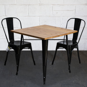 3PC Enna Table & Siena Chair Set - Black