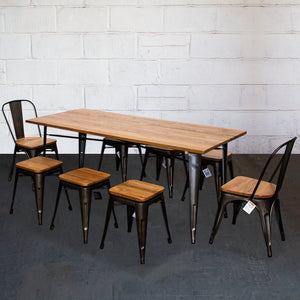 9PC Taranto Table, 2 Palermo Chairs & 6 Rho Stools Set - Gun Metal Grey