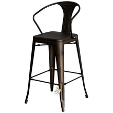 3PC Laus Table & Favara Bar Stool Set - Gun Metal Grey