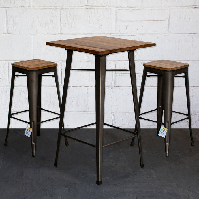 3PC Lodi Table & Firenze Bar Stool Set - Gun Metal Grey