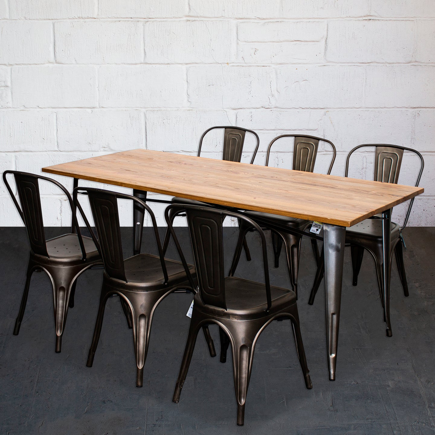 7PC Taranto Table & 6 Siena Chairs Set - Gun Metal Grey