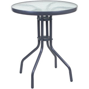 60cm Silver Round Glass Bistro Table