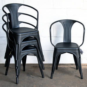7PC Taranto Table, 3 Forli Chairs & 3 Castel Stools Set - Onyx Matt Black