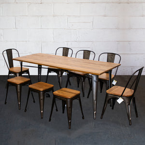 9PC Taranto Table, 5 Palermo Chairs & 3 Rho Stools Set - Gun Metal Grey