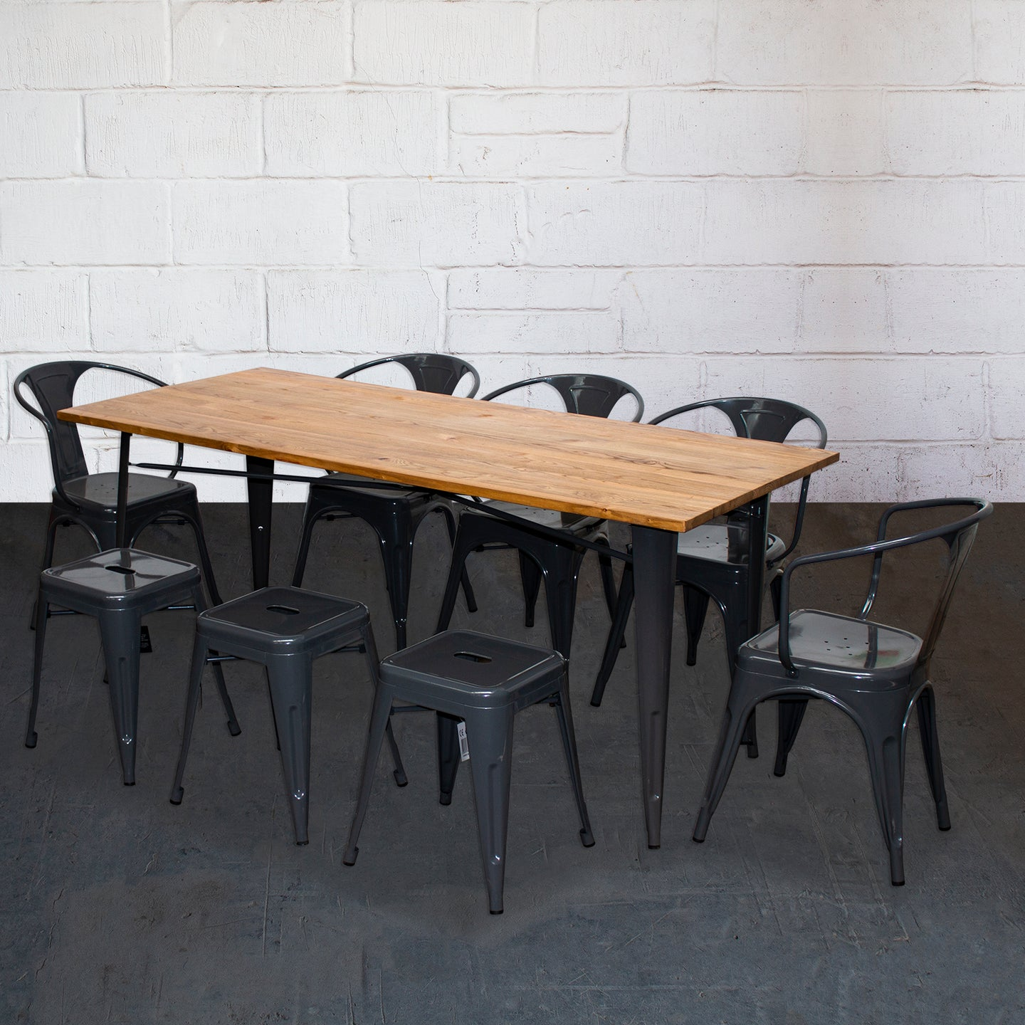 9PC Taranto Table, 5 Forli Chairs & 3 Castel Stools Set - Graphite Grey
