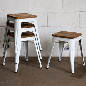 7PC Taranto Table, 5 Rho Stools & Nuoro Bench Set - White