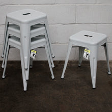 5PC Enna Table Forli Chair & Castel Stool Set - White