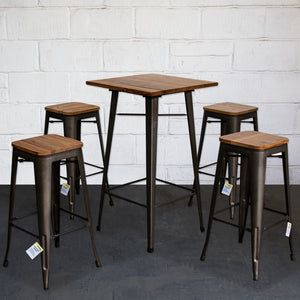 5PC Lodi Table & Firenze Bar Stool Set - Gun Metal Grey