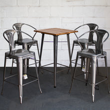 5PC Lodi Table & Favara Bar Stool Set - Steel